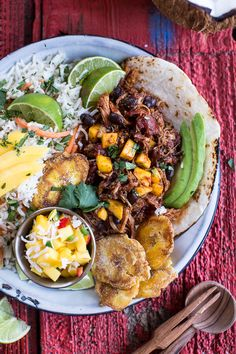 """foodiebliss: """"Caribbean Mango Pork and Tropical Rice Plates Source: Half Baked Harvest """" Pork Recipes, Slow Cooker Recipes, Cooking Recipes, Healthy Recipes, Juicer Recipes, Jamaican Recipes, Cooking Gadgets, Healthy Breakfasts, Detox Recipes"""