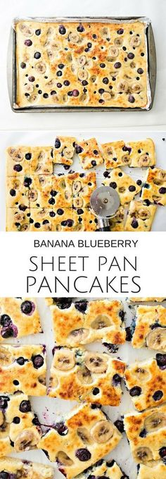 Sheet Pan Banana Blueberry Pancakes Recipe via hello, Wonderful - We took our favorite banana blueberry recipe and made it in a sheet pan (less mess, saves time and feeds a crowd for breakfast or brunch) Easy kids breakfast.