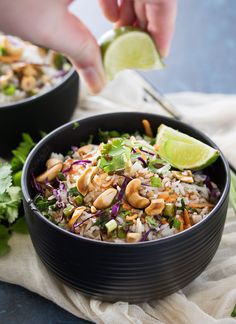 Thai Coconut Cashew Rice | This unique rice side dish is packed with Thai flavors and is a mouthwatering side dish to accompany just about any protein you'd like! | http://thechunkychef.stfi.re