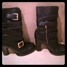 Tory Burch Black Leather Buckle Wrap Boots Adorable black leather Tory Burch boots! They go up to mid-calf. Worn but in good condition! Tory Burch Shoes
