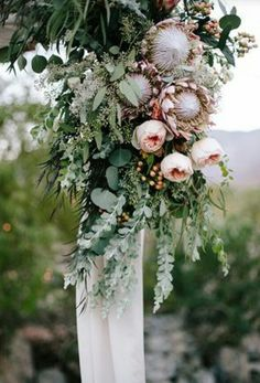Hanging floral arrangement with Australian natives