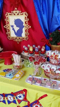 Red, blue and yellow Snow White birthday party! See more party planning ideas at CatchMyParty.com!