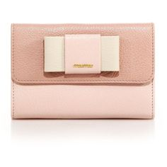 Miu Miu Madras Two-Tone Leather Bow-Flap Wallet (13.965 CZK) ❤ liked on Polyvore featuring bags, wallets, clutches, miu miu, apparel & accessories, leather bags, real leather wallets, bow wallet, genuine leather wallet and snap closure wallet