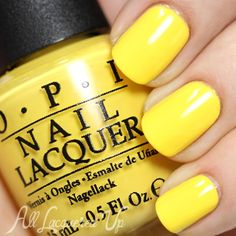 OPI Just Can't Cope-acabana swatch via @AllLacqueredUp. I need a yellow nail polish, I don't have any!