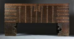 Viebahn Fine Arts: Rare Gothic Wrought Iron Mounted Oak Chest or 'Stollentruhe'. Westphalia Region, circa 1480-1500