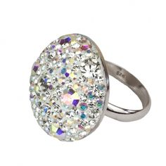 Schmuck-Design24 - Ring white curl   925 Sterling Silber rhodiniert mit Kristallsteinen Größe Ø ca. 25mm