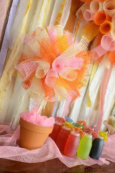 Mesh Poof Topiary & Dessert Buffet: Summer Party Idas and Craft DIY