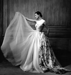 Capucine wearing an evening gown by Pierre Clarence photographed by Georges Dambier | 1950s | #vintage #1950s #fashion