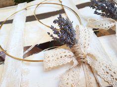 Χειροποίητα στέφανα γάμου με φυσική αποξηρμενη λεβάντα Γαλλίας! Καλεστε 2105157506 Στέφανα γάμου διπλή μπρουτζινη βέργα με δέσιμο οι βαμβακερή δαντέλα!