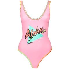 Topshop Aloha Embroidered Edge Swimsuit found on Polyvore featuring swimwear, one-piece swimsuits, pink, swim suits, pink bathing suits, scoop neck one piece swimsuit, beach bathing suits and low back one piece swimsuit
