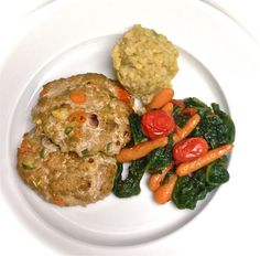 Liana's turkey and veggie patties with sweet potato and brown rice hash and stewed vegetables