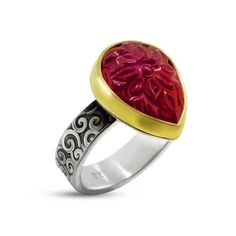 This is the finished ring from the fusing video. A carved ruby cabochon on a vine patterned, oxidized, sterling band. Custom Jewelry, Jewelry Art, Gold Jewelry, Artisan Jewelry, Handcrafted Jewelry, Gold And Silver Rings, Flowering Vines, Ancient Jewelry, Gemstone Rings