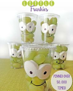 """Super cute and healthy #Halloween snack for kids!  http://greenlunchesgreenkids.com/2014/10/little-frankies-class-snack/"""