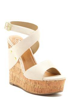 Carrini | Carrini Wrapped Ankle Strap Wedge Sandal | Nordstrom Rack