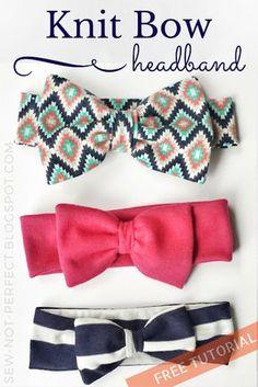 Bow Headband Tutorial Using Knit Fabric | Sew Not Perfect