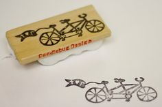Tiny Tandem with flag Hand Carved Stamp. $17.00, via Etsy. - cute for on return envelopes and save the date