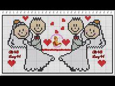 Resultado de imagem para toalhas bordadas em ponto cruz para casamento