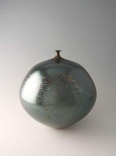 Hideaki Miyamura Vase with Green Crystalline Glaze Porcelain: