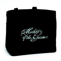 "Bridal Party Tote Bags - Mother of the Groom Black tote bags with inner pockets and embroidered with ""Mother of the Groom"" title in aqua. 100% polyester."