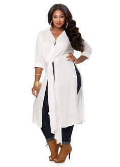 3f9f5454c64 Knot Front Hi-Lo Duster. Curvy Women FashionPlus Size ...