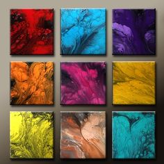 Custom Made ABSTRACT Canvas Art Painting - Huge 9pc 60x60 Original Painting by Destiny Womack - dWo -