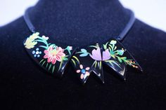 Black Wooden Modernist Handpainted Necklace by GenusJewels on Etsy