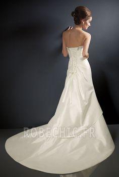 Robe de mariée Bustier Cathédrale Perle Vintage Automne Longueur au sol