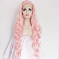 Long Pink Wig Hot Fairy Cosplay Curly Hair Wavy Khaleesi Halloween Natural Look #LongPinkWig