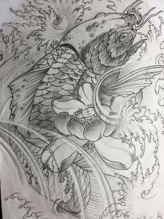 #koi #sketch #drawing Tattoo Design Drawings, Tattoo Sketches, Sketch Drawing, Japanese Tattoo Designs, Best Tattoo Designs, Kio Fish Tattoo, Carp Tattoo, Evolution Tattoo, Flor Tattoo