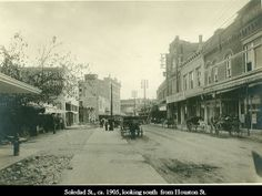 1905 - Soledad St San Antonio TX looking south from Houston St. What a great early 20th Century street scene. Not too much traffic.
