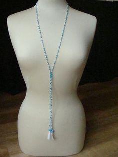 Blauwe ketting van kleine kralen seed beads en door CPaccessoires