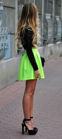 Way cute neon Tulip Skirt from Sabo Skirt