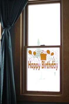 Excited to share the latest addition to my #etsy shop: Birthday Sign // Happy Birthday Window Cling // Reusable Birthday Banner // Birthday Party Decoration // Gold Birthday Party Decorations