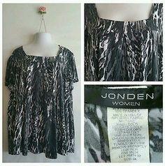 Jonden women's plus size 3X animal print blouse shirt short sleeve top casual