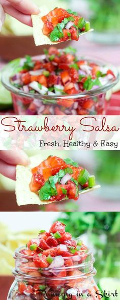 5 Ingredient Fresh Strawberry Salsa recipe. Simple, healthy and easy fruit salsa.  Serve with chips!  The perfect clean eating summer dish for cookouts.  | Running in a Skirt