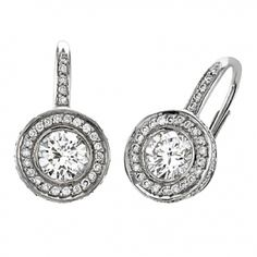 Round Diamond & Pave Drop Earrings with Pave Pave Bail