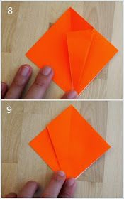 steps 11 and 12 showing how to fold an origami jack-o-lantern Origami Pumpkin, Paper Pumpkin, Crafts To Do, Arts And Crafts, Paper Crafts, Origami Jack O Lantern, Art For Kids, Kid Art, Origami Decoration