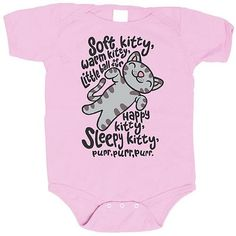Big Bang Theory Soft Kitty Pink Onesie    http://www.entertainmentearth.com/prodinfo.asp?number=RJBT0N2490P+3MOS=LY-012045602