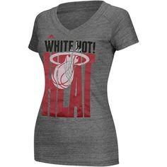 Miami Heat adidas Women's Tri-Blend V-Neck T-Shirt
