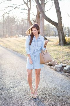 chambray shirt dress, nude wedges, espadrille sandals, spring style, spring outfit ideas, casual style, chambray outfit // grace wainwright from a southern drawl