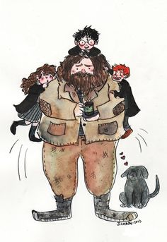 Hagrid by Jennifer Chan the accuracy of this is beyond funny. Harry Potter Witch, Harry Potter Artwork, Harry James Potter, Harry Potter Universal, Harry Potter Fandom, Harry Potter World, Harry Potter Memes, Rúbeo Hagrid, Keanu Matrix