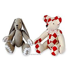 2 X Fabric Sewing PATTERNS Independent Design.11 Inch Bunny Rabbit & 14 Inch Patchwork Teddy Memory Bear with Easy Tutorial Style Instructions. Lacy Bunny & Harley PatchworkTeddy Bear. FREE POST