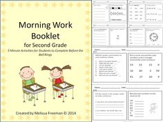 This Morning Work (or Bell Work) Booklet contains 4 weeks worth of short daily activities (one math and one language per day) that students can work on while waiting for the morning bell or announcements. Some of the topics include: nouns, adjectives, verbs, synonyms, antonyms, time, patterns, addition, subtraction, fractions and shapes. A great way to keep your students busy each morning!