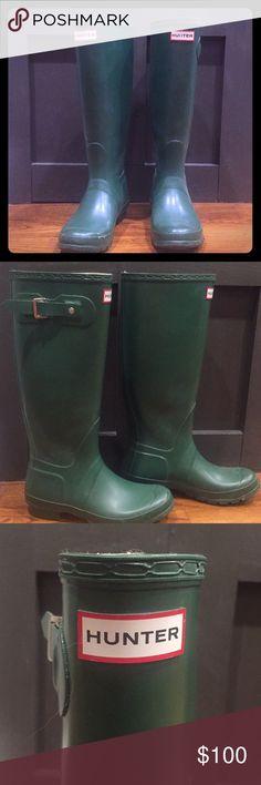 Green tall Hunter boots Talk green Hunter boots. Worn twice- great condition! Hunter Shoes Winter & Rain Boots