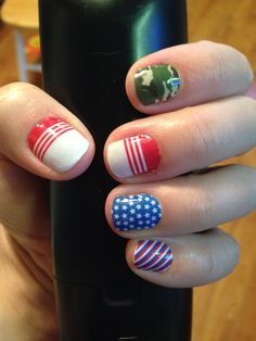 All ready for the 4th of July!!! I love my Jamberry wraps!!! You can get yours at www.ksabers.jamberrynails.net #patriot #camo