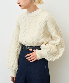 CLANE|クラネ|CABLE PUFF KNIT TOPS 詳細画像 8