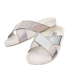 Take a look at this Silver Crisscross Slide today!