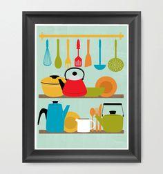 Retro kitchen art print and frame
