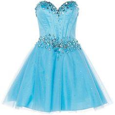 ANOUSHKA G Zoe corset style prom dress ($150) ❤ liked on Polyvore featuring dresses, metallic, sale, short cocktail prom dresses, blue dress, cocktail prom dress, short blue dresses and metallic dress