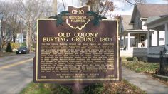 Granville, OH (Licking County) - The other side of Ohio Historical Marker #21 - 45 next to the Old Colony Burying Ground on Rt. 661 (S. Main St.).